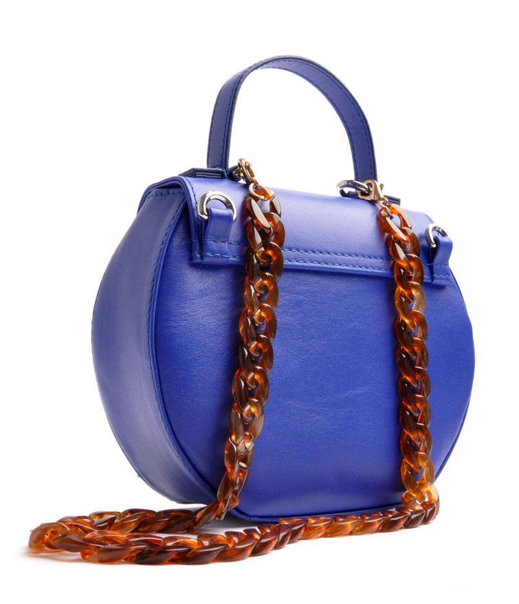 Schultertasche Ivy  in blau aus Leder,  Handgefertigter Luxus . elegante Trachtentasche, OSTWALD Traditional Craft