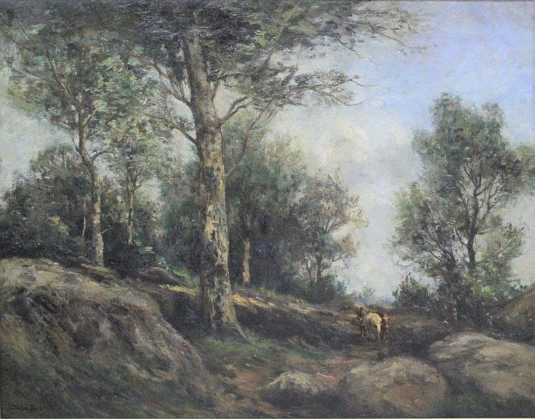 te_koop_aangeboden_een_bos_landschap_van_de_nederlandse_kunstschilder_theophile_emile_achille_de_bock_1851-1904_haagse_school