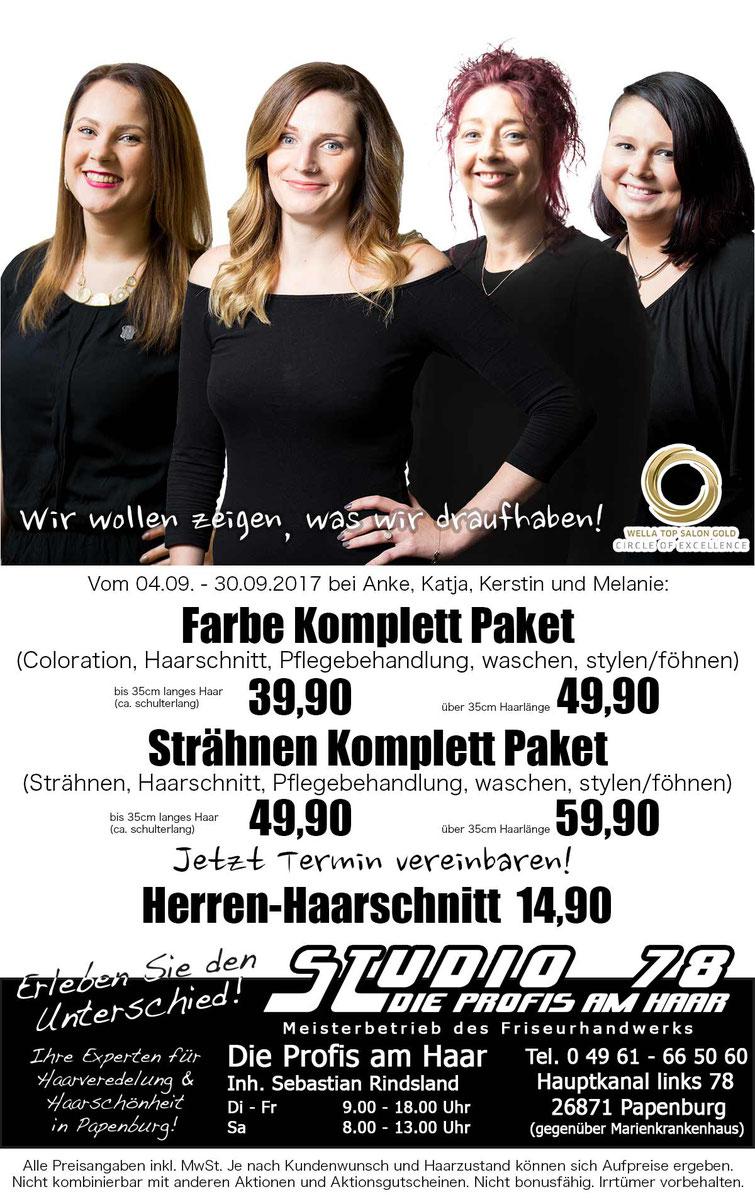 Angebot Aktion Neue Mitarbeiter Coloration Highlights Haarfarbe Strähnen Herrenhaarschnitt