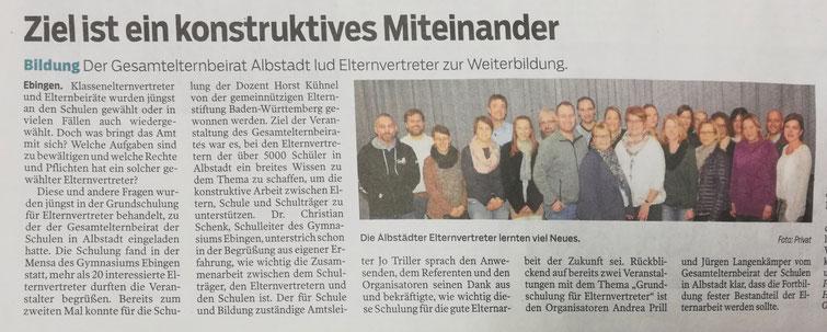 Pressemitteilung im Zollern-Alb-Kurier am 15.11.2019