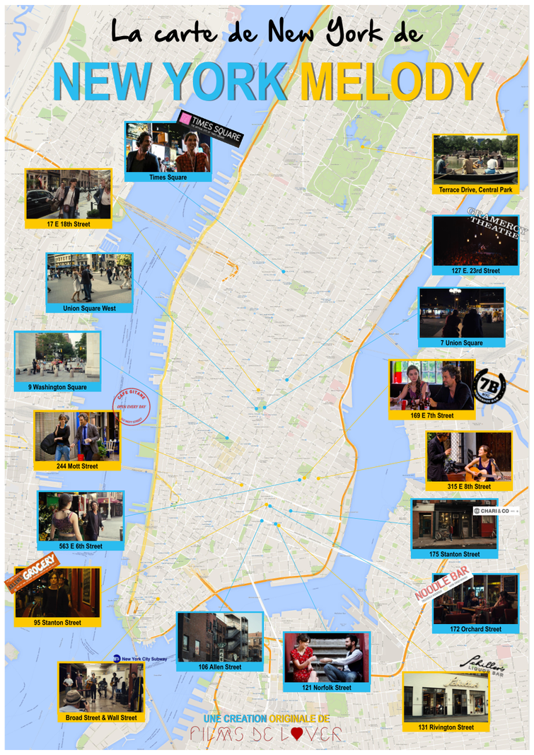 carte des lieux de tournage de new york melody map of filming location of begin again movie new york