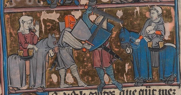 Fig. 6 -   Roman d'Arthur, France, 1275-1300, Ms 229, f 56r. (Beineck Rare Book & Manuscript Library)