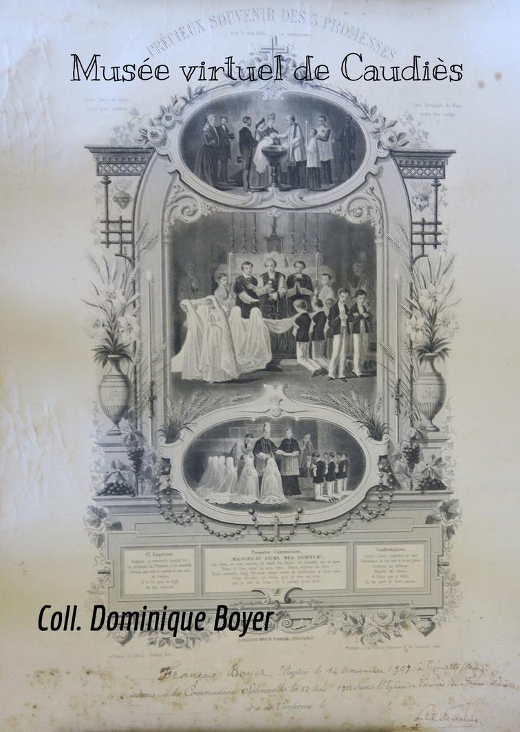 """""""Diplôme"""" de Communiant datant de 1918, signé du curé de Peyralade ( 30 x 50 cm)"""