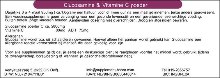 Etiket Glucosamine & Vitamine C poeder