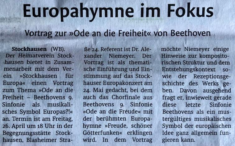 Vorbericht zum Beethoven-Vortrag von A. Niemeyer (26.04.19) (Lübbecker Kreiszeitung (Westfalen-Blatt), Lokalteil Lübbecke, 19. April 2019)