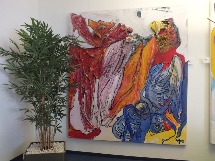 no name oder das ist mein weg, Acryl auf Leinwand mit Materialmix, 180 x 200cm