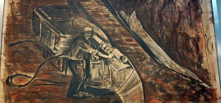 convoyeur remontant la bauxite à l'aide de la bande transporteuse. Détail d'un dessin de M.Villa musée des Gueules Rouges Tourves