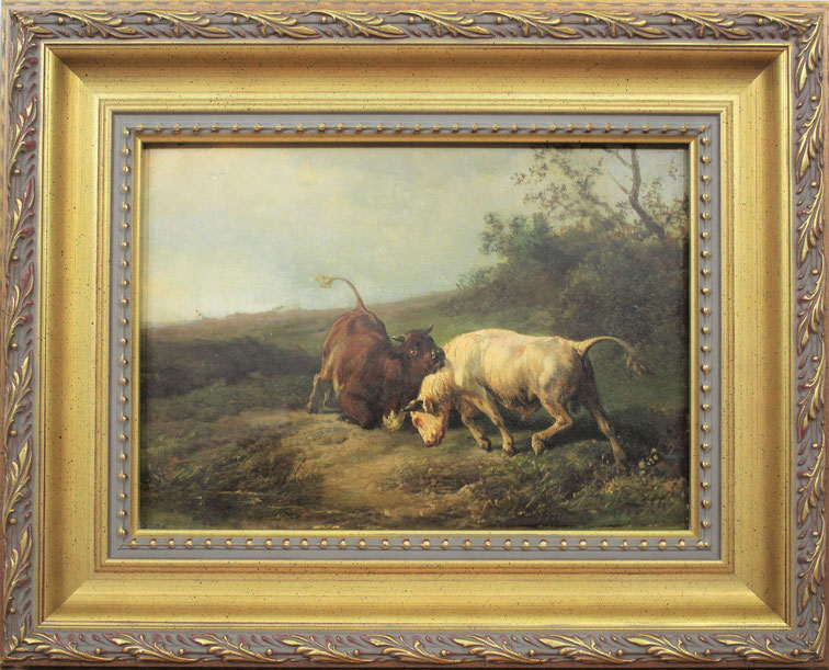 """te_koop_aangeboden_een_schilderij_getiteld_""""vechtende_stieren""""_van_de_nederlandse_kunstschilder_jan_bedijs_tom_1813-1894"""
