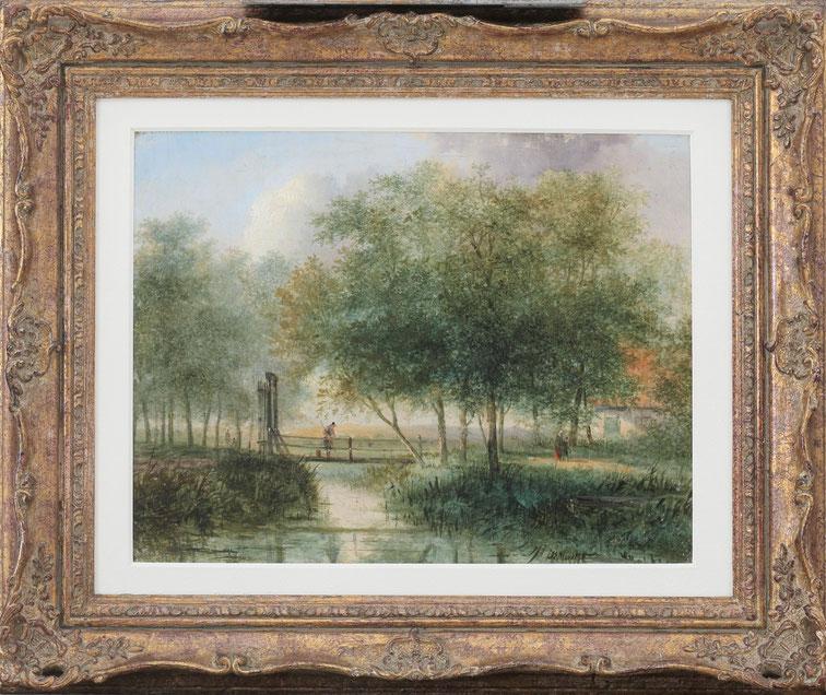 te_koop_aangeboden_een_landschaps_schilderij_van_de_schilder_jan_evert_II_morel_1835-1905_de_romantiek
