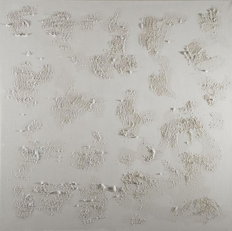 Crateri bianchi.Acrilico e sablè su tela. 90x90.2013