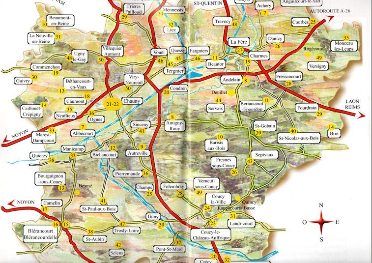 Carte des Églises du Chaunois