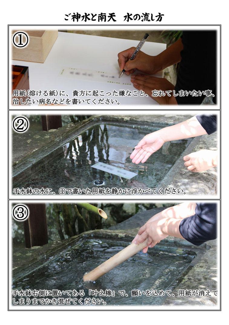 御形神社(みかたじんじゃ)のご神水と南天「水の流し方」