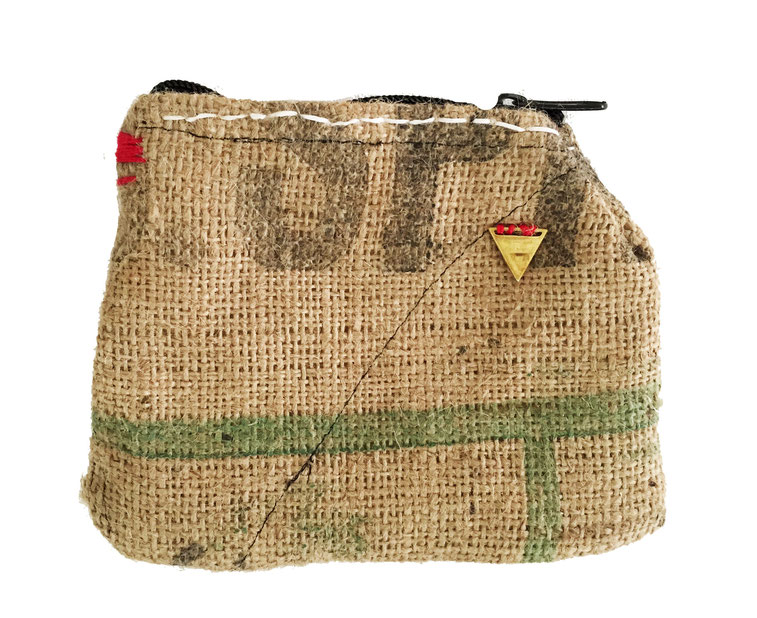 burlap zipper bag - front | made out of burlap and canvas | AVAILABLE | $20