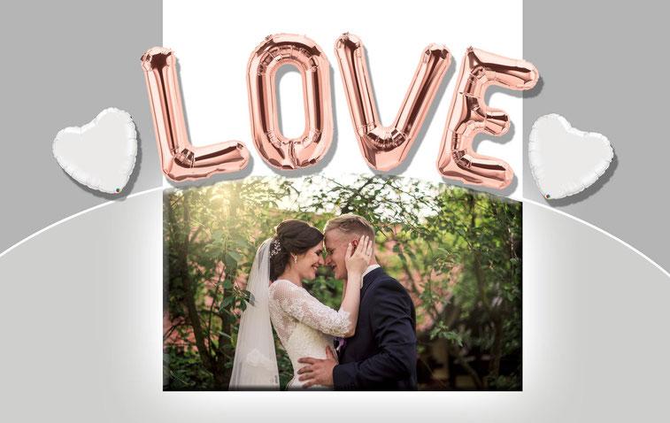 LOVE XXL Folienballon Buchstabe Luftballon Ballon Heliumballon Helium rosegold rose gold Hochzeit Schriftzug