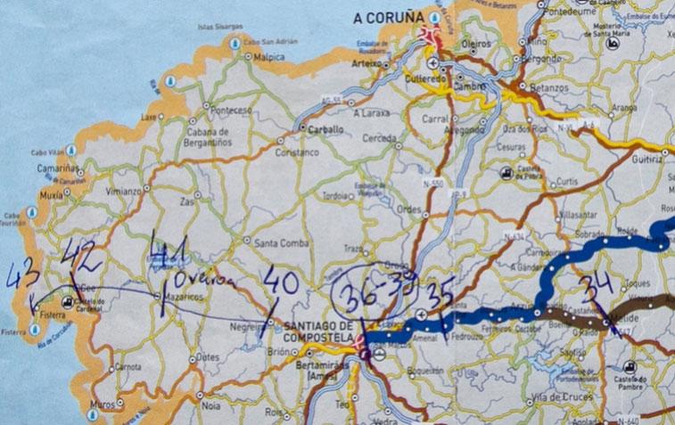 Fisteros piligrimų kelio žemėlapis