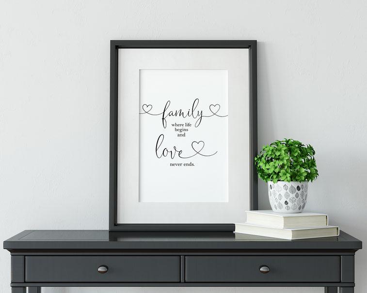 Kunstdruck Print family love Wohndeko