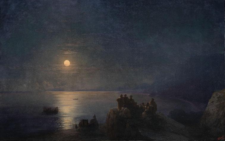 """Ivan Ajvazovskij, """"Poeti dell'antica Grecia in riva al mare in una notte di luna piena"""" (1886)"""