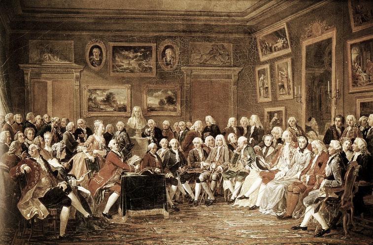 """Dipinto di Lemonnier che rappresenta la lettura della tragedia di Voltaire, allora esiliato, """"L'orfano della Cina"""" (1755). Riuniti intorno al busto di Voltaire vi sono Rousseau, Montesquieu, Diderot, d'Alembert, Buffon, Quesnay, Condillac"""