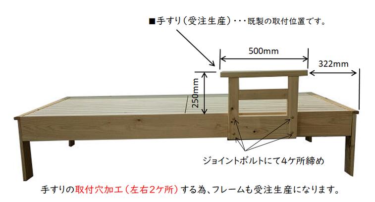 ※写真は、ヒノキ材で作った「手すり」と「ベッド」です。