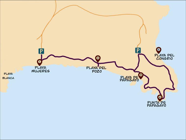 Papagayo Strände karte