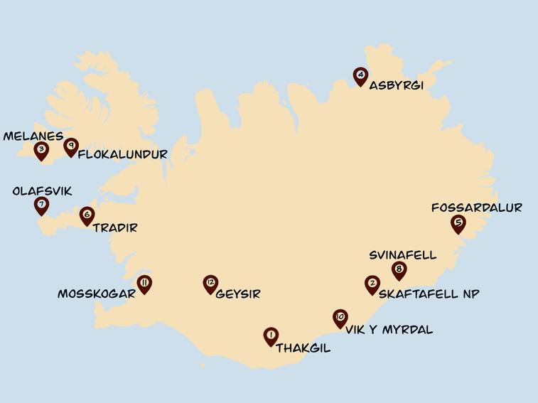 Campingplätze Island Karte