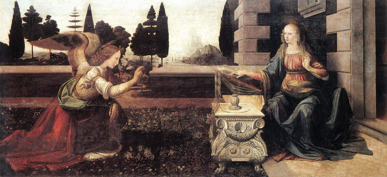Благовещение - Леонардо да Винчи. Шедевры Галереи Уффици