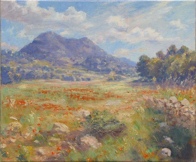 Tony Wahlander (Wåhlander)Paysages de Provence, tableau du mont du Bessillon, dans le var une petite montagne, entouré de champs de Vigne et de coquelicots