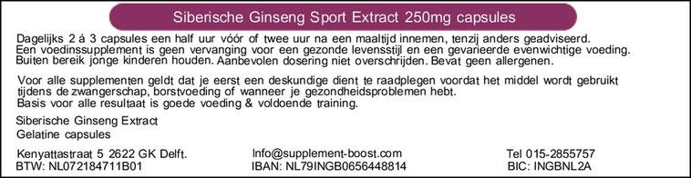 Etiket Siberische Ginseng Sport Extract 250mg capsules
