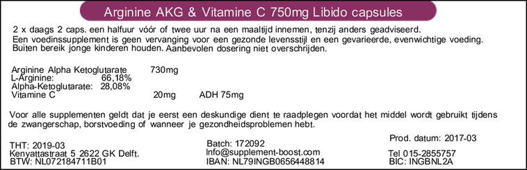 Etiket L-Arginine AKG & Vit. en Zink Libido 750mg capsules