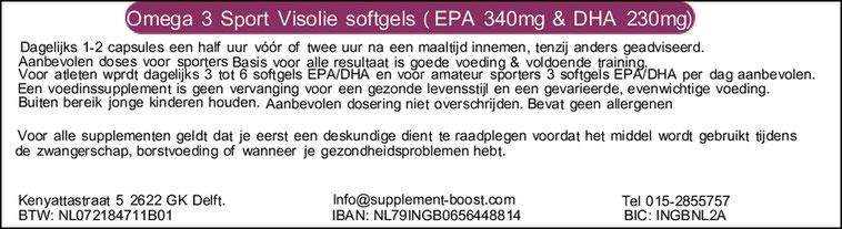 Etiket Omega 3 Sport Visolie softgels (EPA 340mg en DHA 230mg)
