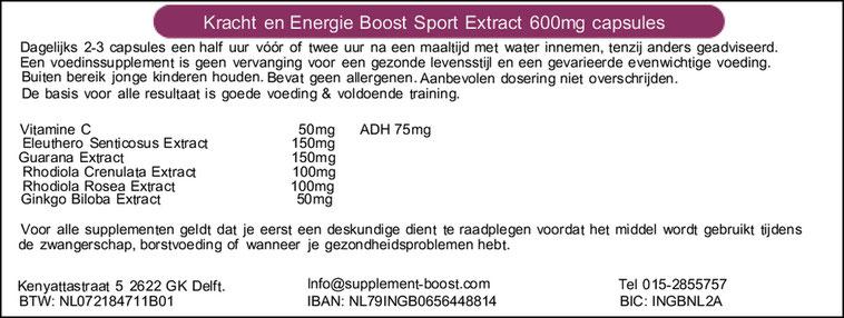 Etiket Kracht en Energie Boost Sport Extract 600 mg capsules