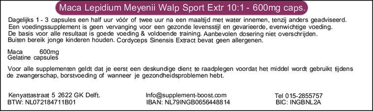 Etiket Maca Lepidium Meyenii Walp Sport Extract 10:1 - 600mg capsules