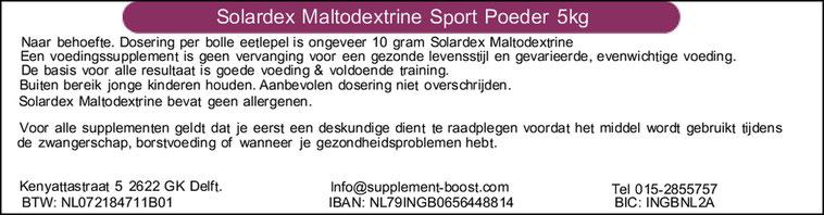 Etiket Solardex Maltodextrine Sport Poeder 5kg