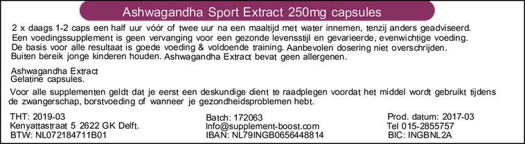 Etiket Ashwagandha Sport Extract 250mg capsules
