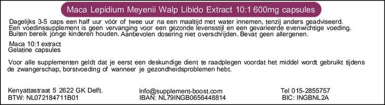 Etiket Maca Lepidium Meyenii Walp Libido Extract 10:1 600 mg capsules