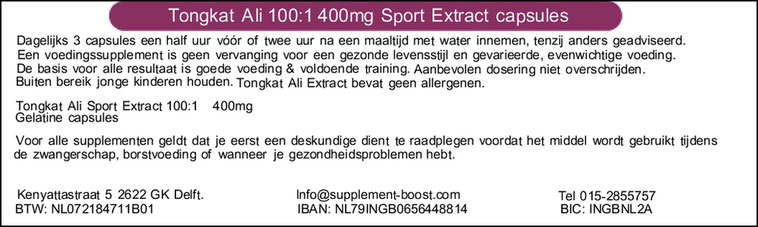 Etiket Tongkat Ali 100:1 400mg Sport Extract capsules