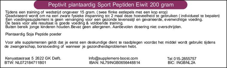 Etiket Peptivit plantaardig Sport Eiwit Peptiden 200 gram