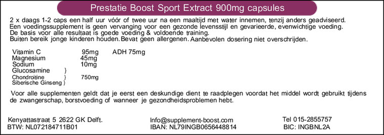 Etiket Prestatie Boost Sport Extract 900 mg capsules