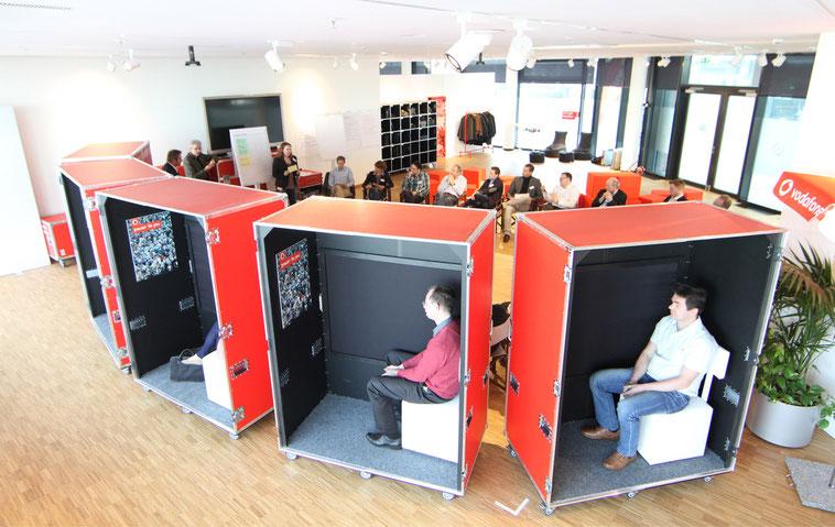 Führungskräfte-Workshop Vodafone, Messebaukonzept, welcome-net Stuttgart, Eventagentur
