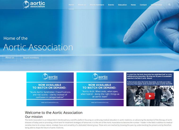 Screenshot der Aortc Association