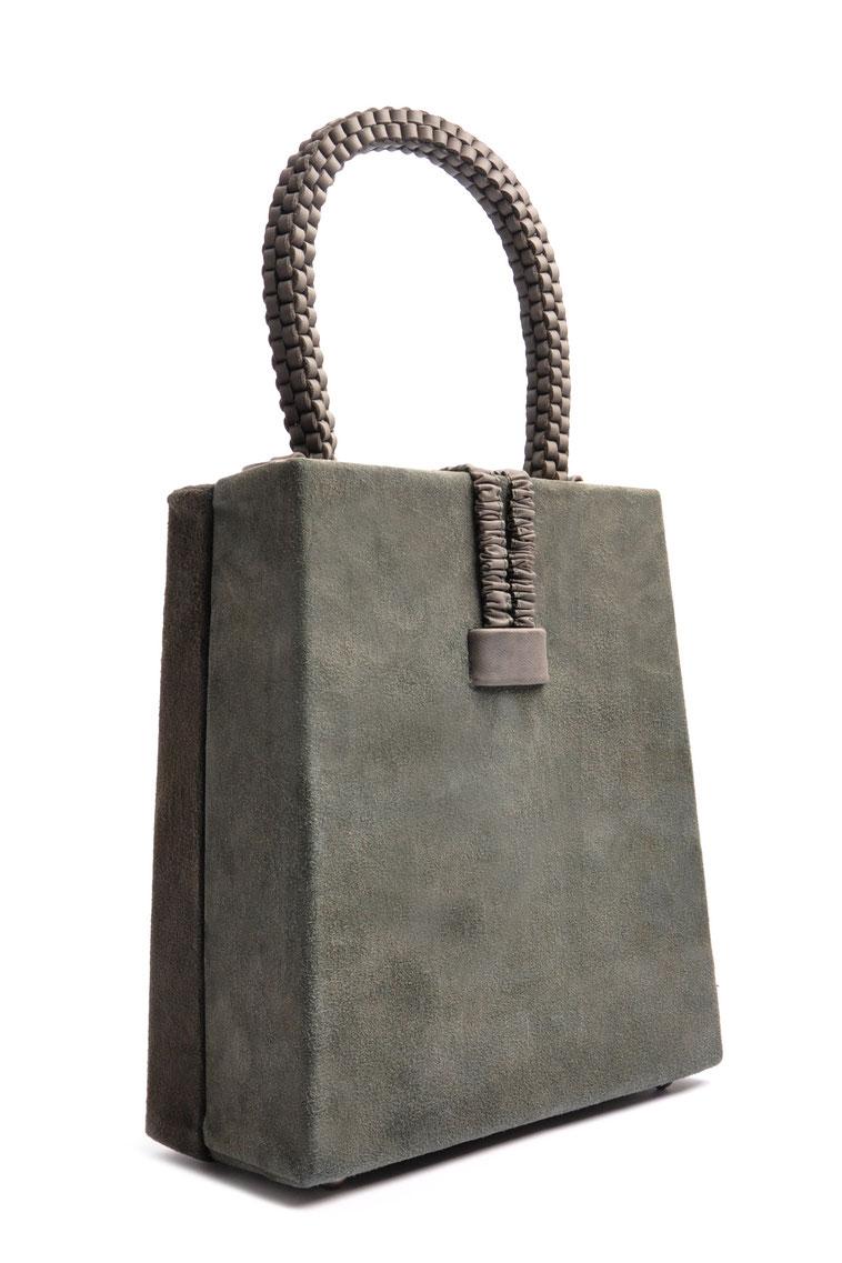 nostalgische Tasche Leder grau OSTWALD Traditional Craft