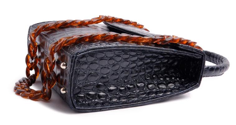 Dirndltasche aus blauem Leder, edle Trachtentasche, Handgearbeitet Henkeltasche OSTWAWLD Traditional Craft