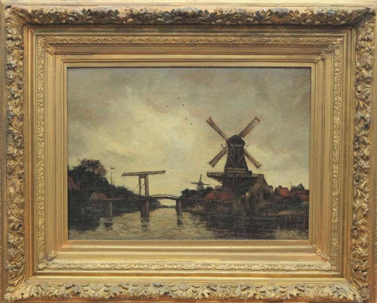 te_koop_aangeboden_een_schilderij_met_molen_en_brug_van_de_franse_kunstschilder_marcel_georges_mignot_1891-1975