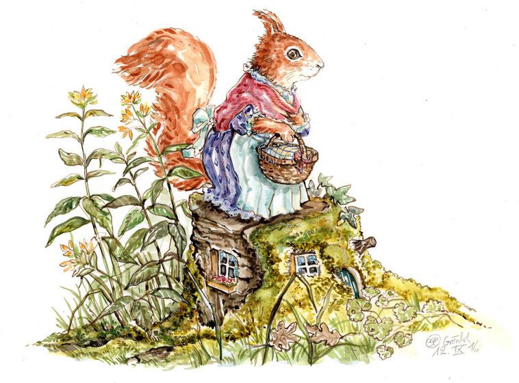 """Illustrationen """"Eichhörnchen Ella auf dem Baumstamm"""" Aquarell  """"Die Eichen am Fluss""""  © Caroline Ronnefeldt"""