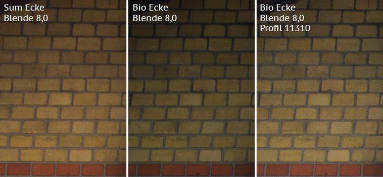 Vergleich Bildecke bei Blende 8,0: Summicron-M 2,0/35mm Asph. vs. Biogon ZM 2,0/35mm ohne/mit Profil. Foto: Klaus Schoerner