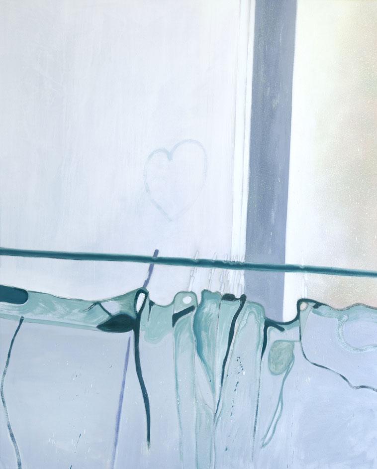 »Gute Zeiten« 120 x 100 cm, Öl, Lack und Acryl auf Baumwolle