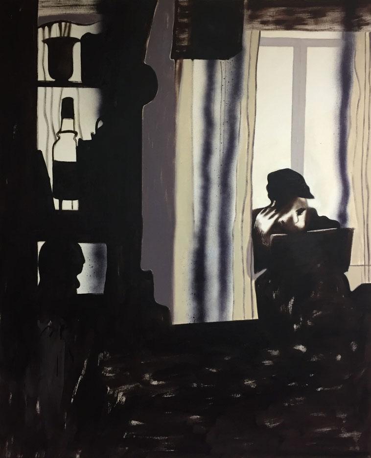 »der heilige Hieronymus im Gehäus« 120 x 100 cm, Öl, Lack und Acryl auf Baumwolle