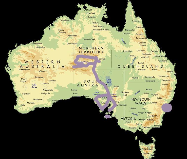 Red Center, South Australia, Kangaroo Island, Stuart Highway, Coober Pedy, Red Center, Uluru, King's Canyon, Katatjuta, Alice Springs, Sydney, Adelaide, Eyre Peninsula, Port Lincoln, Streaky Bay, Victor Island