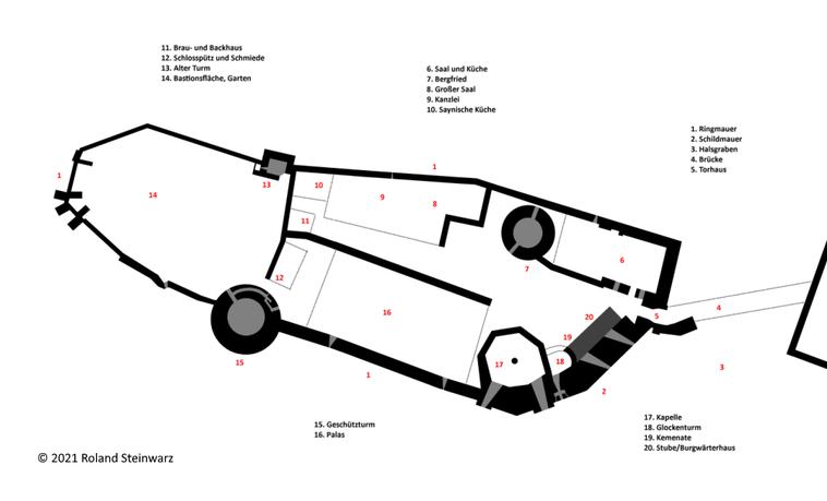 Abb. 4: Grundriss der Hauptburg. Schwarz stellt vorhandenes Mauerwerk dar, grau Räume in diesem. Gestrichelte Linien geben den vermuteten Verlauf der Mauern wieder. © Roland Steinwarz