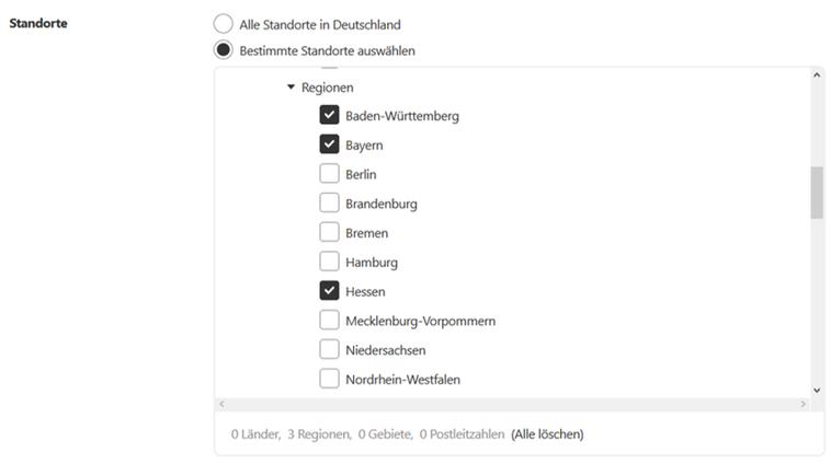 Targeting für Pinterest Ads: Auswahl der Standorte auf Bundesländer-Ebene